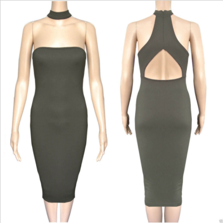 Choker Neck Bandage Dress