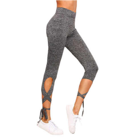 High Waist Crisscross Tie Leggings