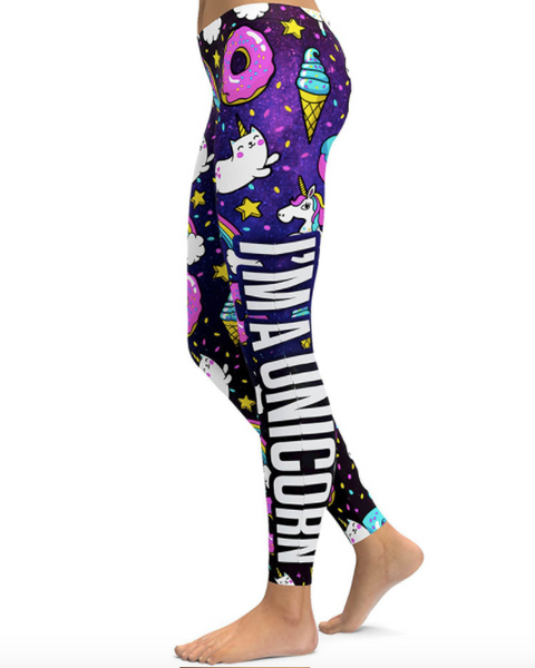I'm a Unicorn High waist Elastic Gym Leggings