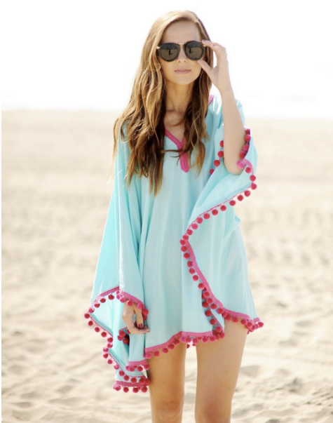 Sexy Blue with Red Tassel Beach Cover Up