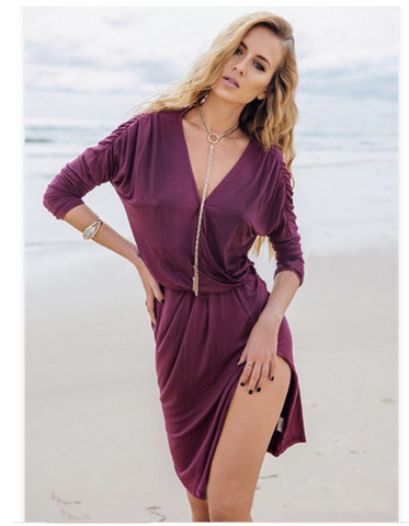Sexy Deep V Neck Purple Dress