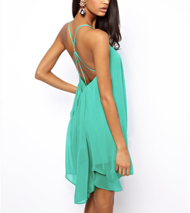 Sexy Backless Sling Strap Back Chiffon Beach Dress