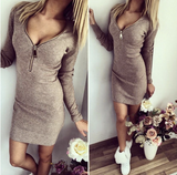 Bodycon Long Sleeve V-neck  Stretchable Dress