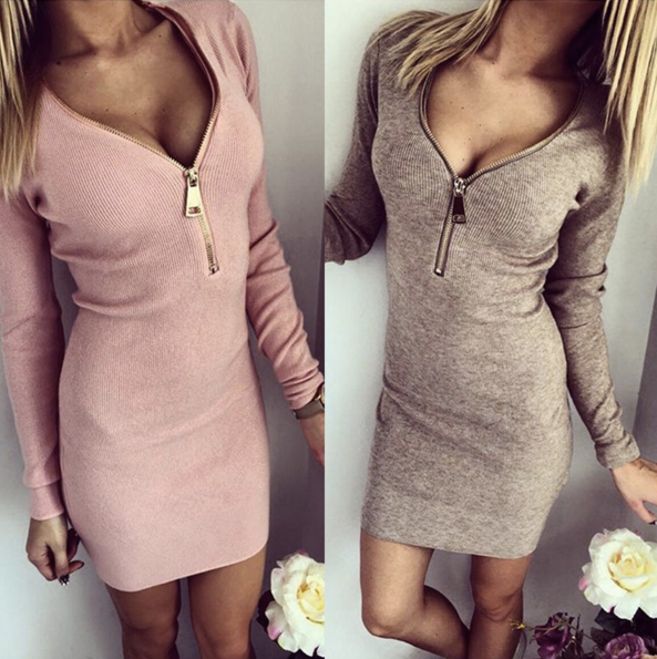 Long Sleeve V-neck Dress Sexy Stretch Bodycon