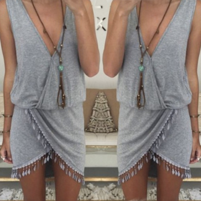 Aysmmetrical Tassel Boho Beach Dress