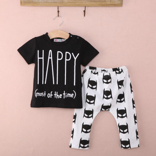 "Baby boy clothing 2-piece ""HAPPY(all the time) Batman Pants"""