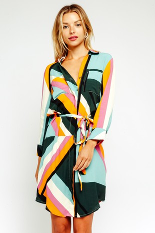Retro Stripes Shirt Dress