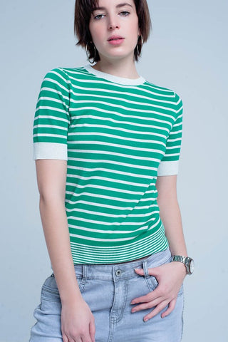 60's Striped Crew Neck Knit Top: Green