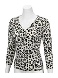V-Neck Snow Leopard Cardigan