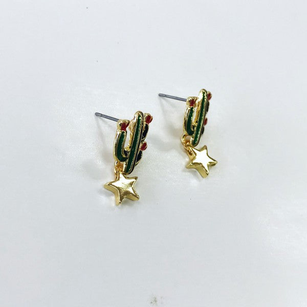 Cactus & Star Stud Earrings