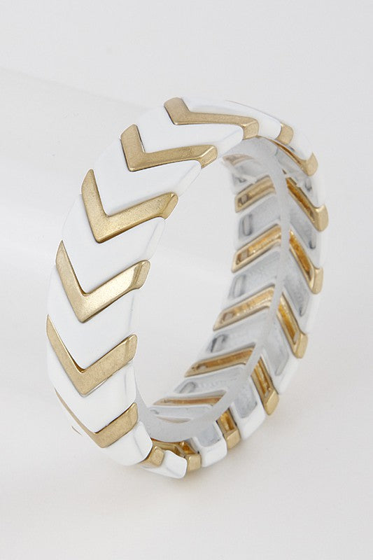 70's Chevron Stretch Bracelet: White