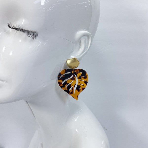 Tortoise Shell Monsterra Leaf Earrings