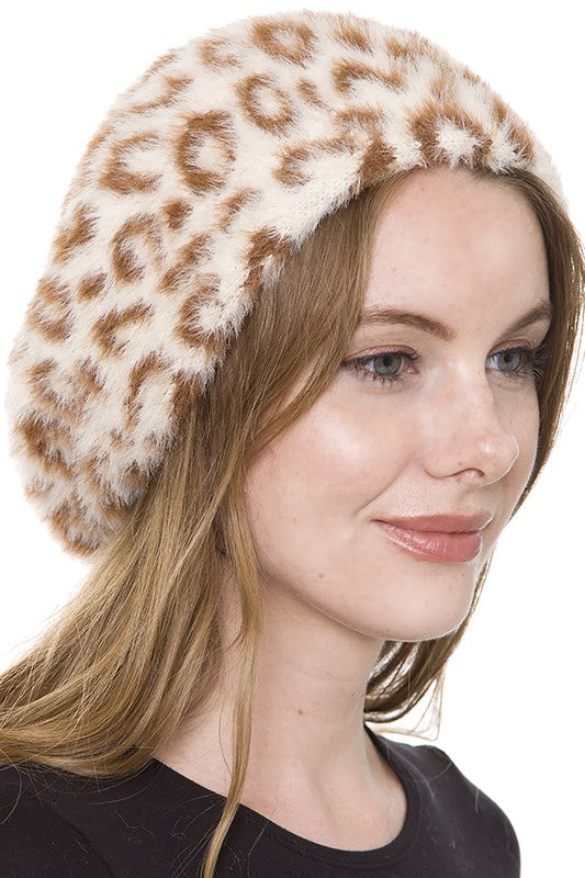 Fuzzy Leopard Beret: Coffee & Cream