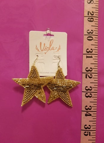 Beaded Gold Star Earrings