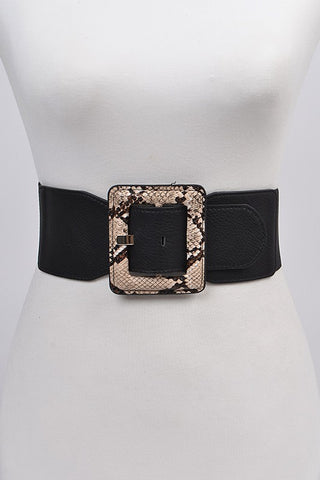 Vegan Leather Buckle Belt: Black
