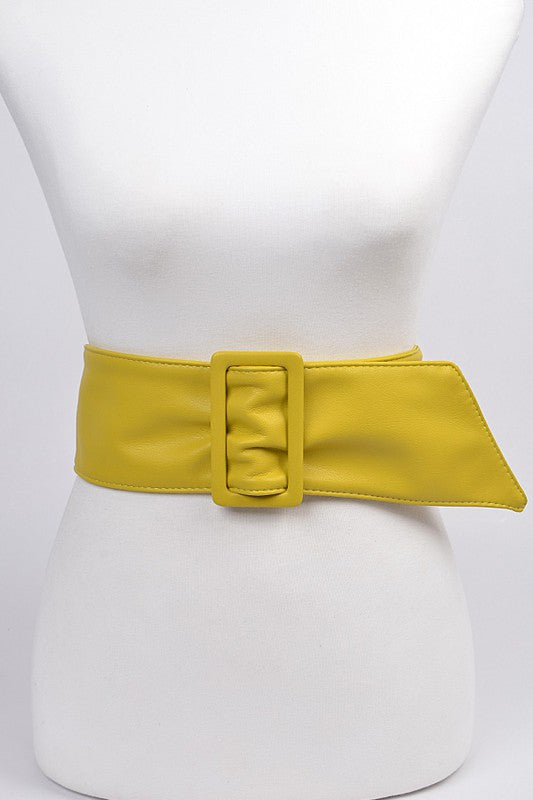 Vegan Leather Buckle Belt: Bright Yellow