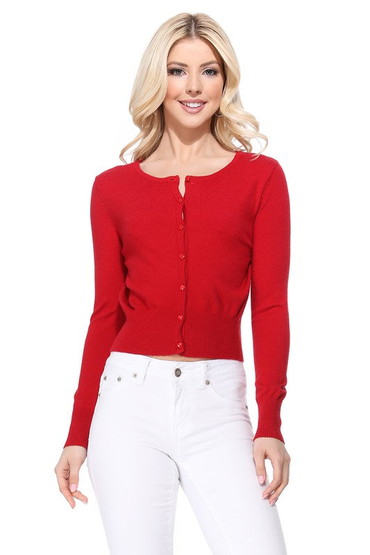 Long Sleeve Crew Cardi: Red