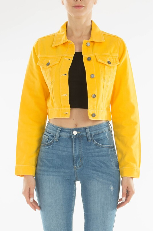 Classic Cropped Denim Jacket: Yellow