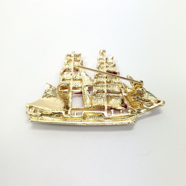 Clipper Ship Enamel Brooch