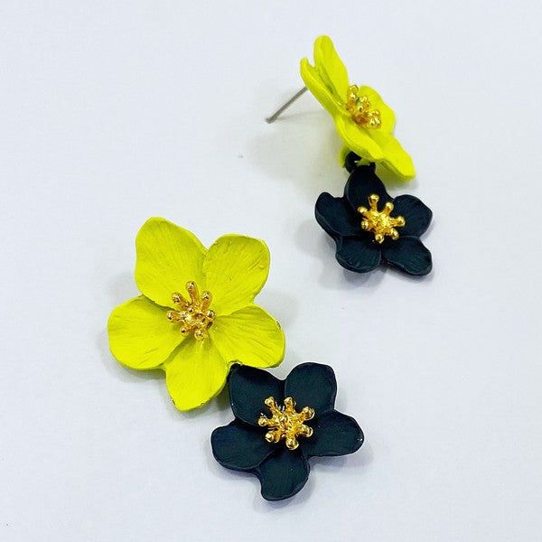 Black & Yellow Double Flower Earrings