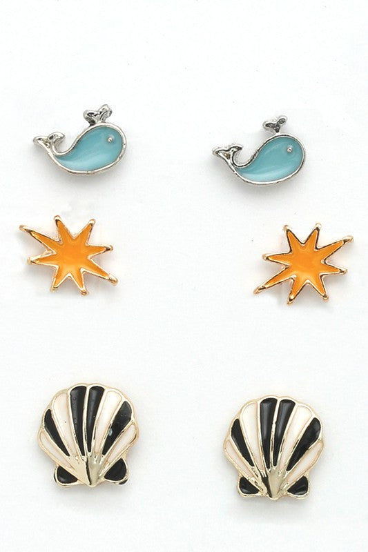 Tiny Stud Earrings Set: Seaside Sweetie