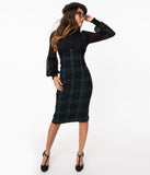 Tartan Overall Pencil Skirt