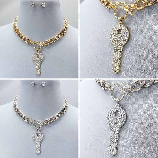 Key To The Universe Necklace Set: Gold