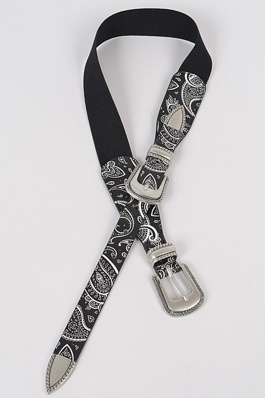 Bandana Double Buckle Elastic Belt: Black