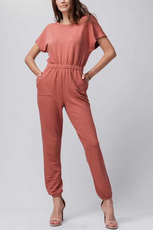 Summer Terry Jumpsuit: Terracotta