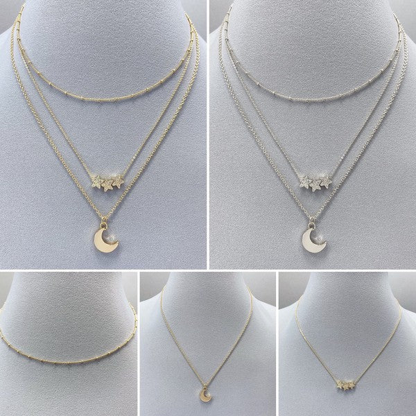 Gold Moon & Stars Necklace Set