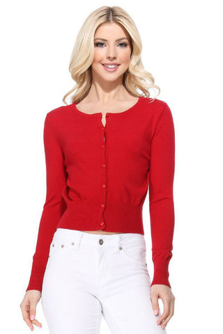 Floral Embroidered Cardigan: Red