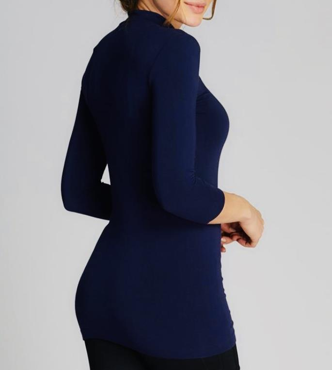 Bamboo Mock Neck Top: Navy: One Size