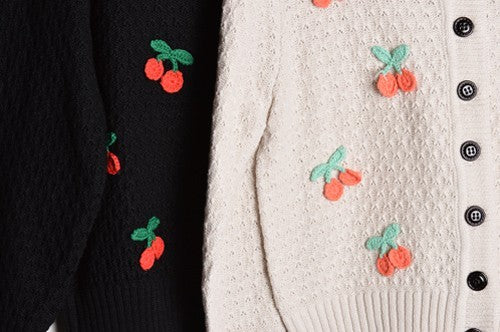 Embroidered Cherries Cardigan