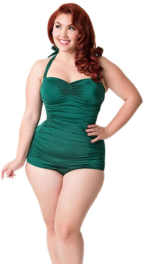 Vintage Style 1 Piece Swimsuit: Green