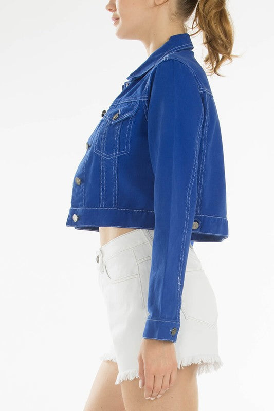 Classic Cropped Denim Jacket: Blue