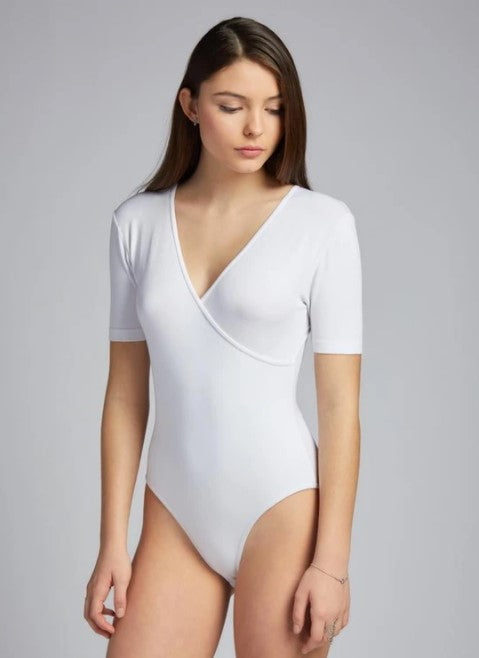 Bamboo Wrap Front Body Suit: Black