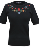 Swiss Miss Embroidered Sweater: Black