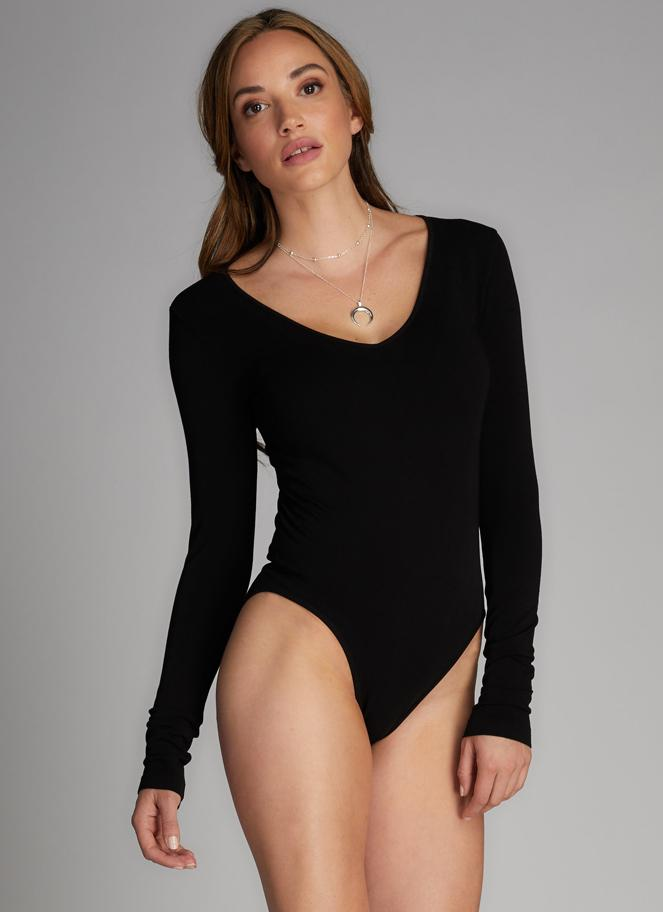Long Sleeve Bamboo Bodysuit: Black