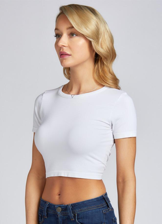 Bamboo Crop Top: White