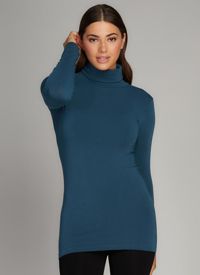 Bamboo Turtle Neck: Teal: One Size