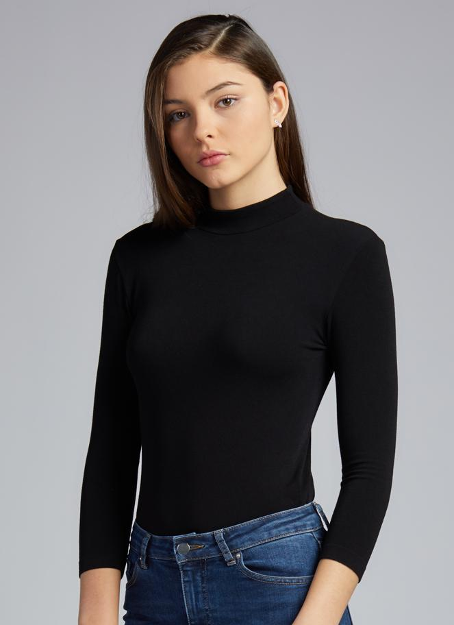 Bamboo Mock Neck Top: Black: One Size