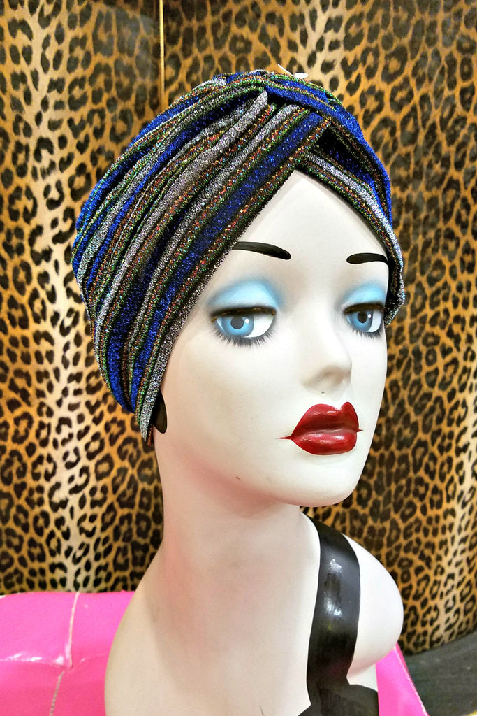 Blue & Silver Sparkle Head Wrap