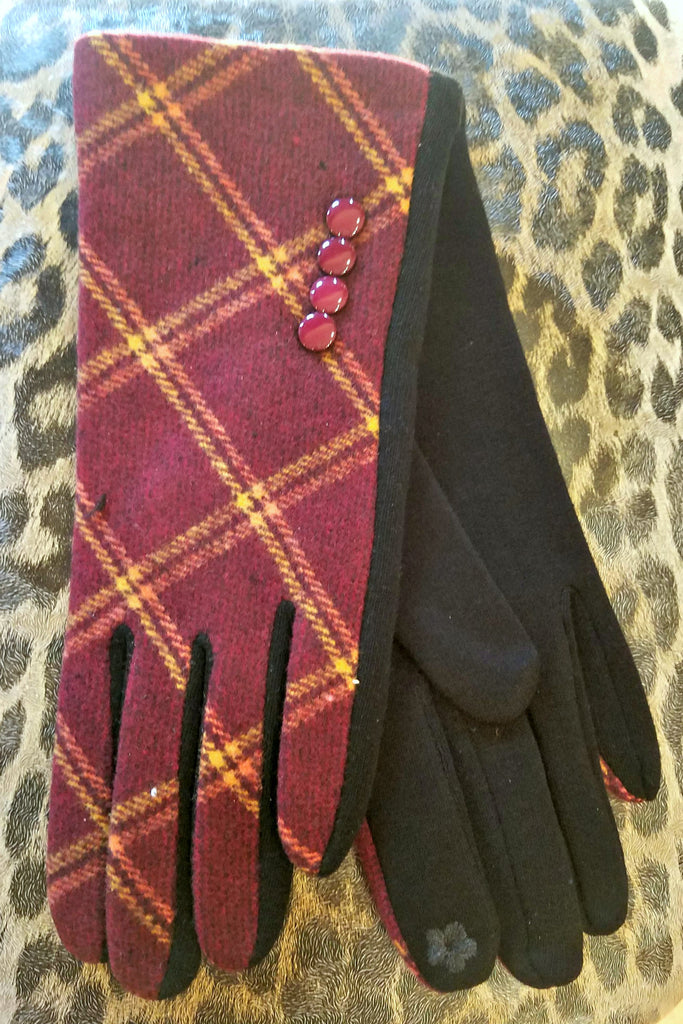 Burgundy Plaid Ladies Gloves