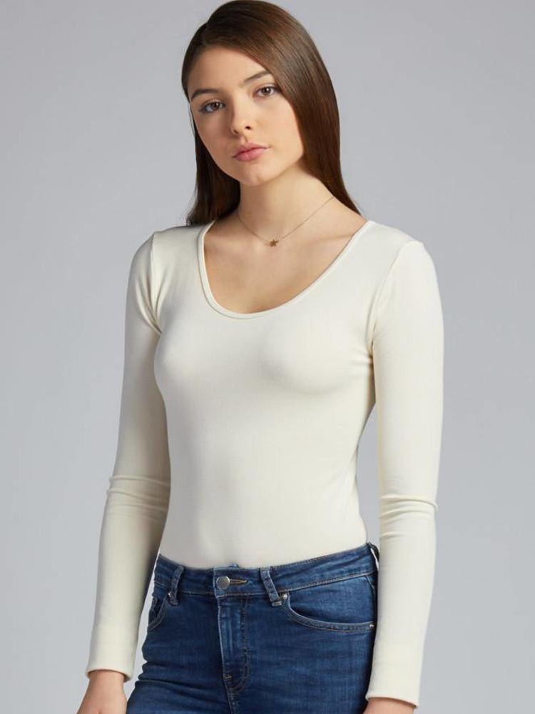 Bamboo Scoop Neck L/S Tee: Ivory: One Size
