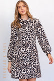 Fleecy Snow Leopard Tunic Dress