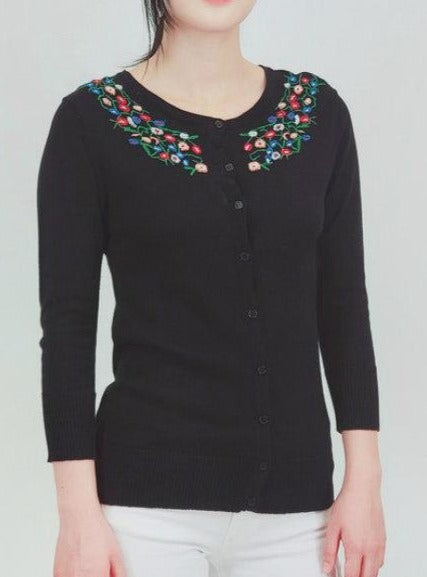 Floral Embroidered Cardigan: Black