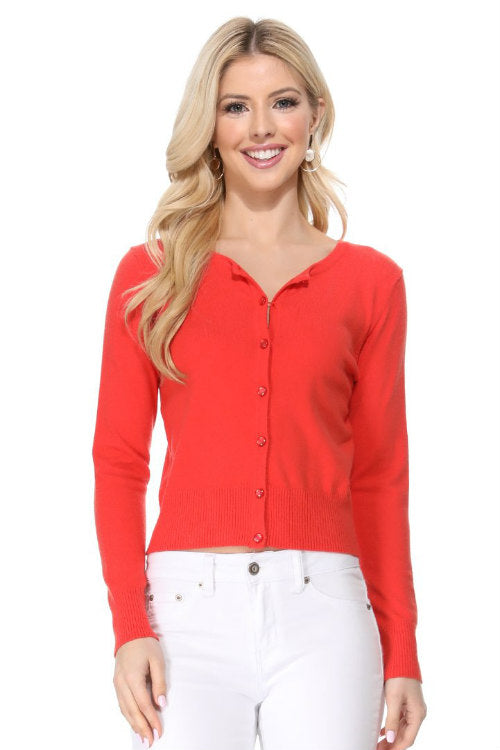 Long Sleeve Crew Cardi: Vibrant Coral