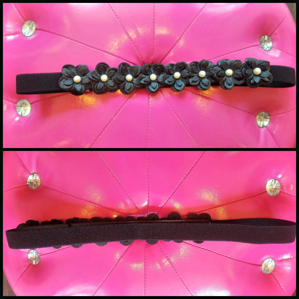 Black Vegan Leather Flower Elasticized Belt