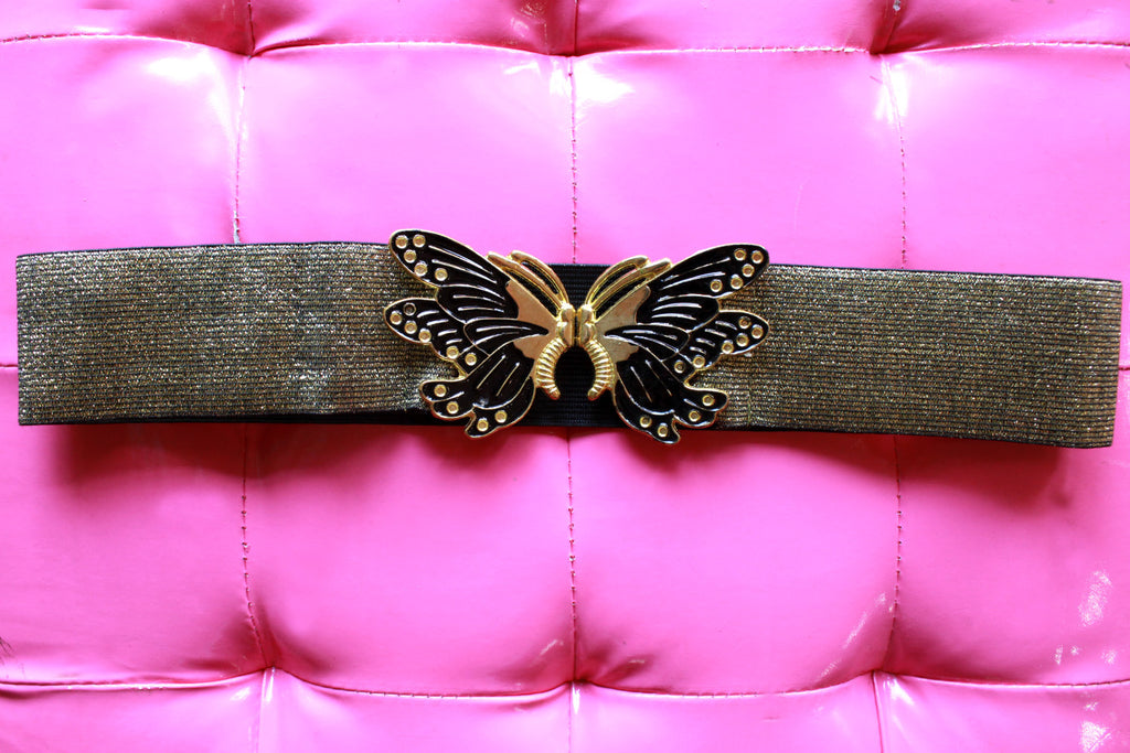 Vintage Look Butterfly Belt: Gold
