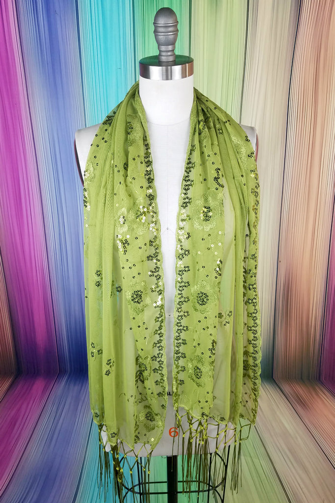 Sequin Fringe Scarf: Lime Green
